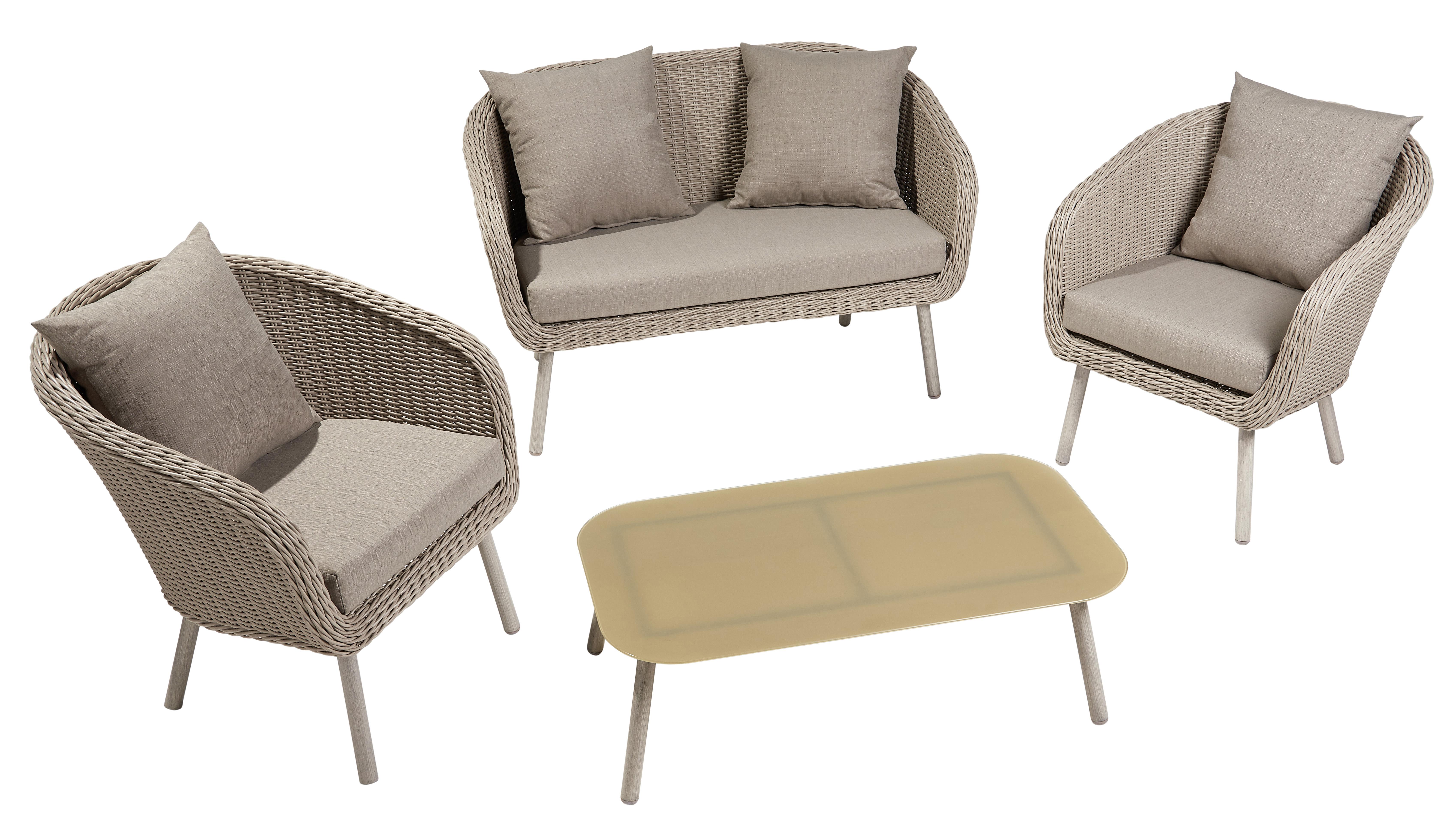 CARREFOUR - Salon bas de jardin Romantique - 4 pièces - GD69142 Café ...