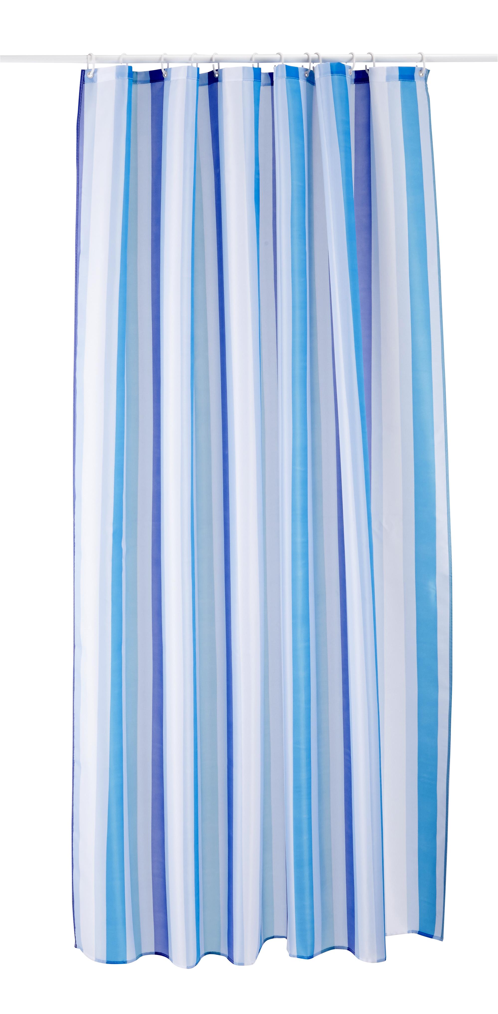CARREFOUR HOME - Rideau de douche tissu - 180x200 cm - Bleu rayé ...