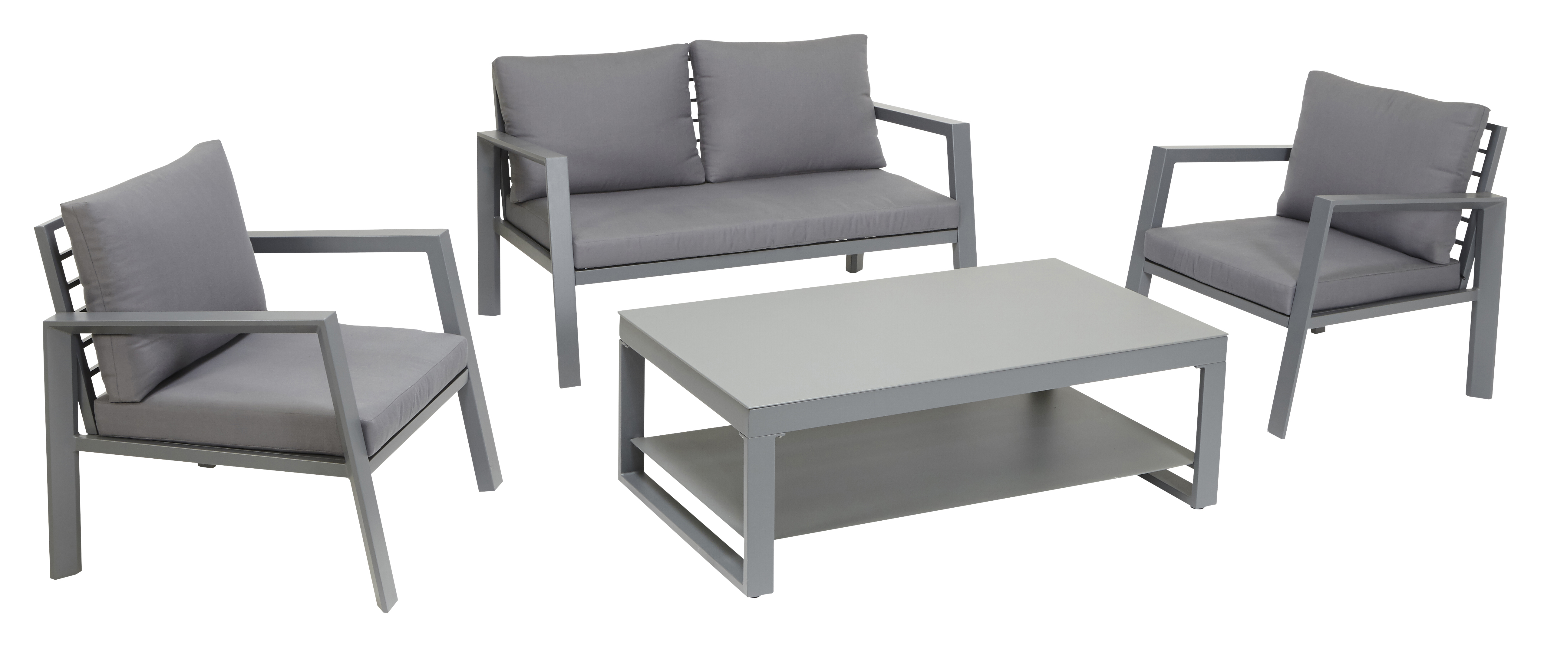 Salon Bas De Jardin Canberra 4 Pieces Gris