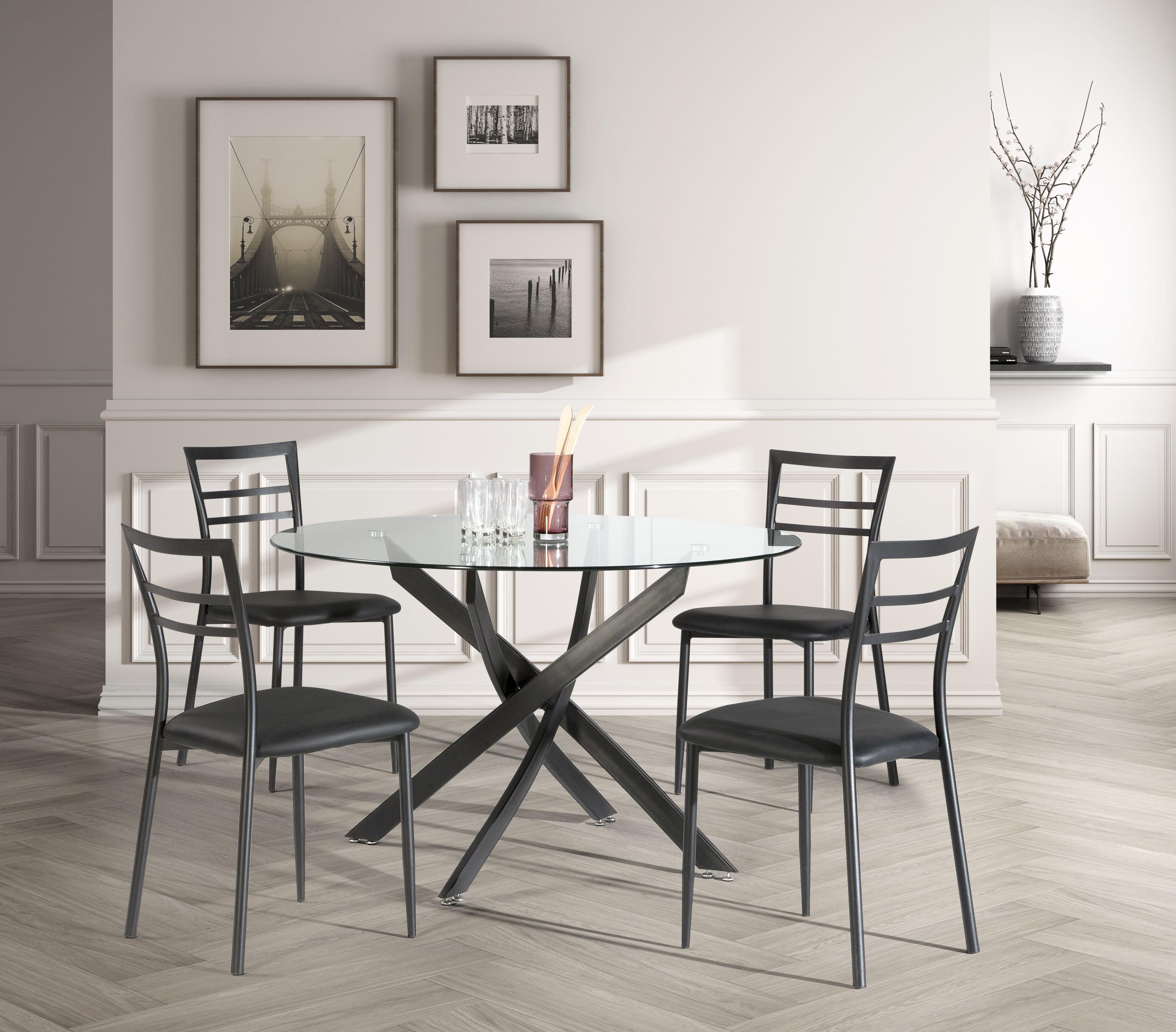 RUE DU COMMERCE - Ensemble table ronde + 4 chaises - 120 cm - Noir ...