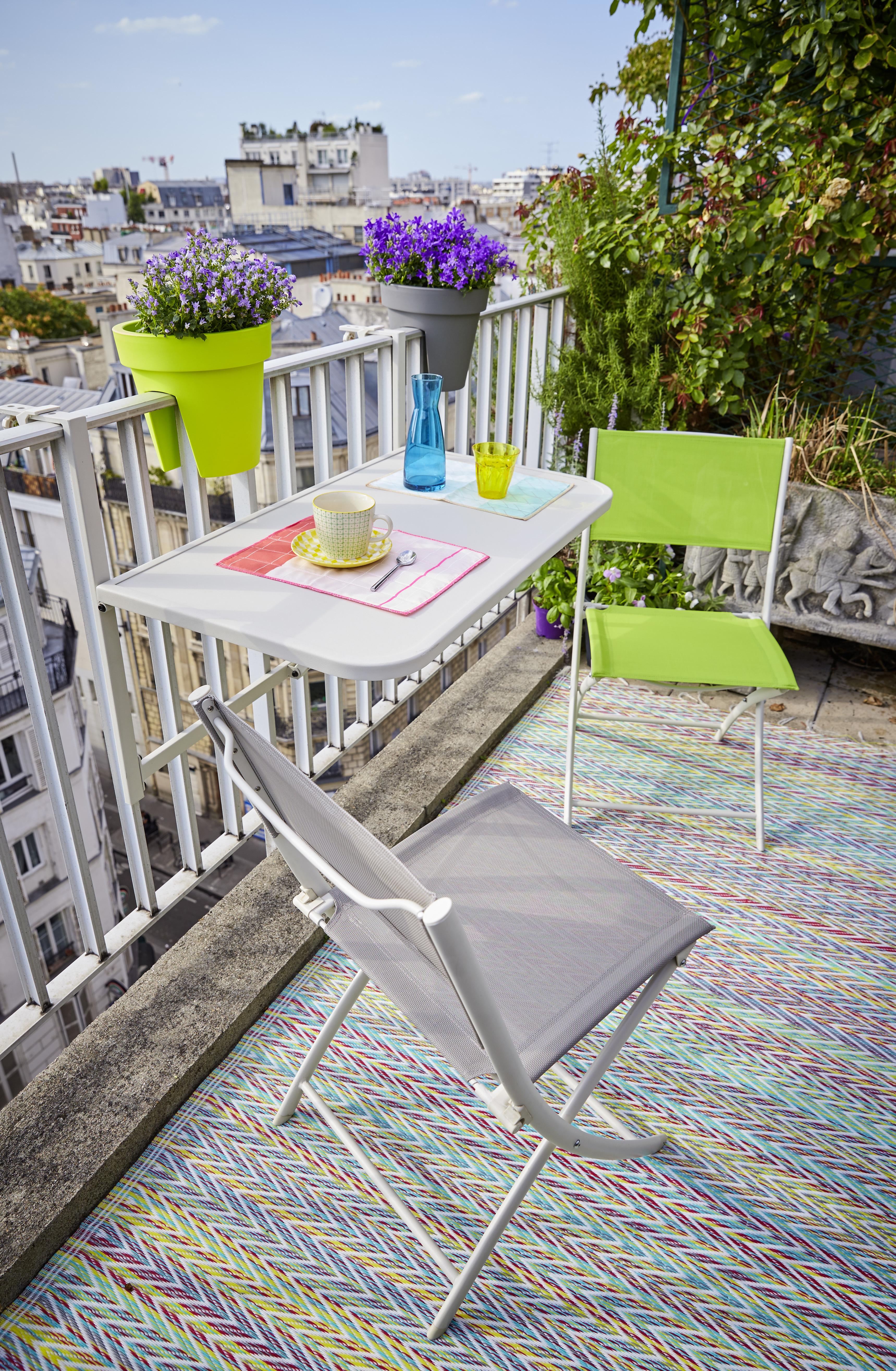 CARREFOUR - Table balcon à accrocher - 16S7361B Gris - 92cm x 64cm x ...