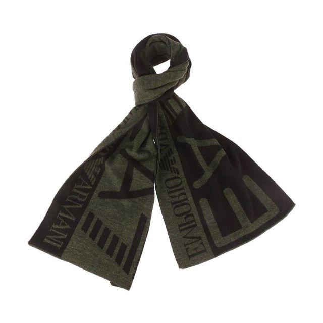 Armani Ea7 - Echarpe Ea7 noire et vert foncé chiné - pas cher Achat ... d9ffc089b56