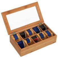 Kesper - Boîte à thé en bambou 10 compartiments 36 x 20 x 9 cm