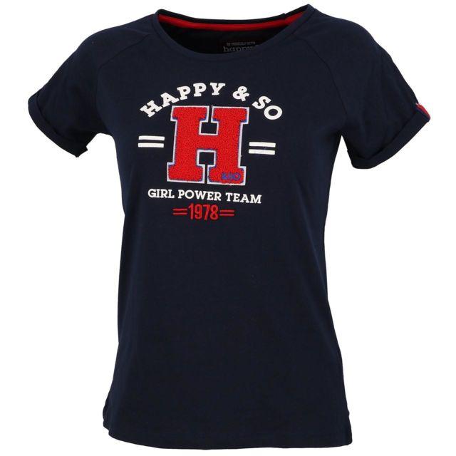 HAPPY AND SO Tee shirt manches courtes Varsity nv mc tee l Bleu 30880
