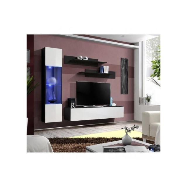 Price Factory Meuble Tv Fly G3 Design Coloris Noir Et Blanc