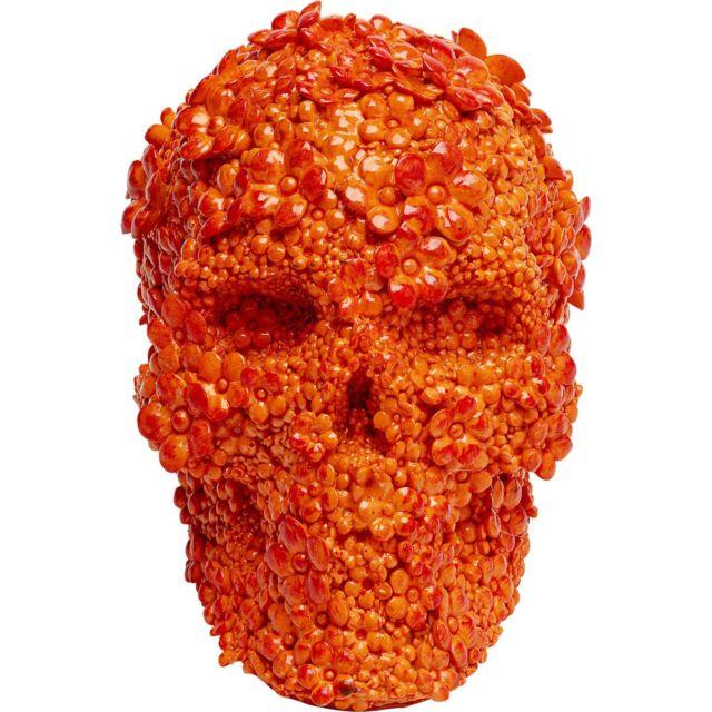 Karedesign Tirelire Crâne fleurs oranges Kare Design