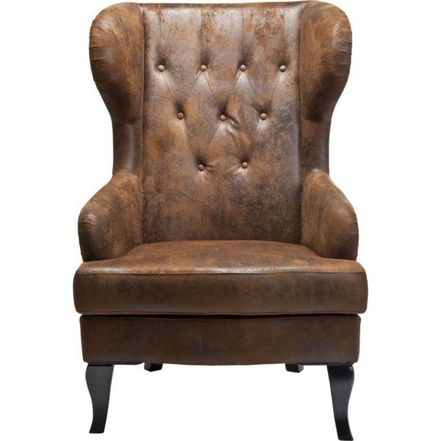 karedesign fauteuil oreilles wing vintage kare design marron pas cher achat vente fauteuils rueducommerce - Fauteuil A Oreille Pas Cher