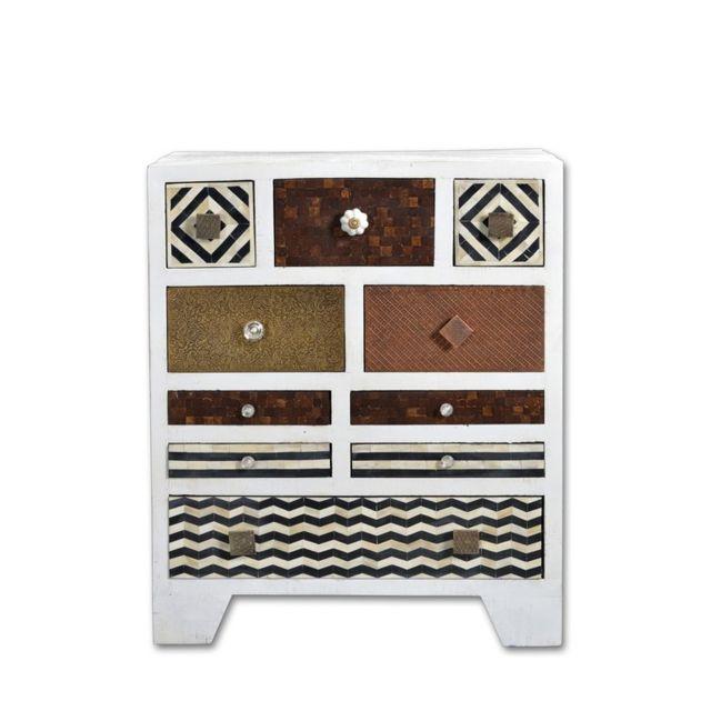 Tousmesmeubles Commode 8 tiroirs - Bohemian Ivoire - L 70 x l 30 x H 85