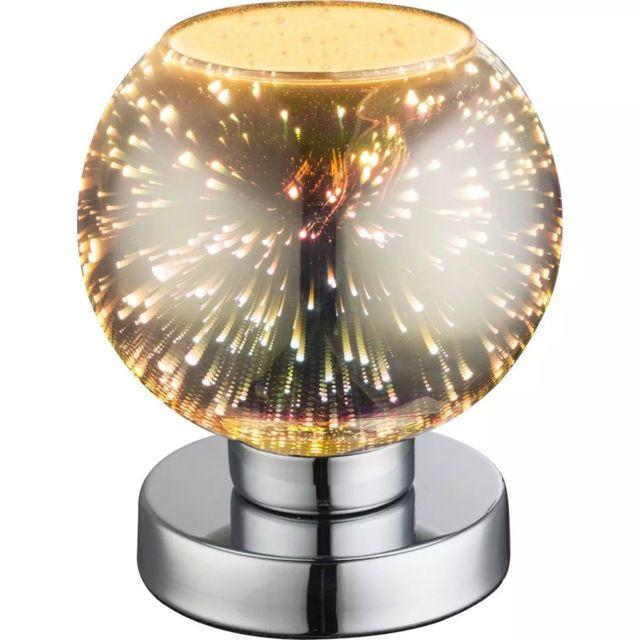 Globo Lampe de table à effet 3D Koby Verre Chromé 15 x 18