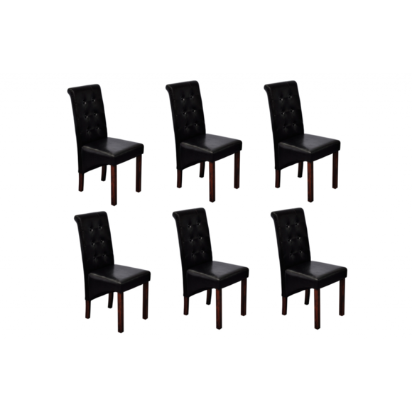Vidaxl - Chaise en simili cuir antique noir lot de 6