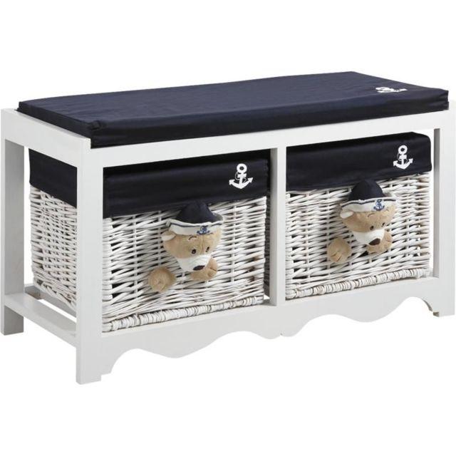 aubry gaspard banc de rangement en bois et osier ourson ourson pas cher achat vente. Black Bedroom Furniture Sets. Home Design Ideas