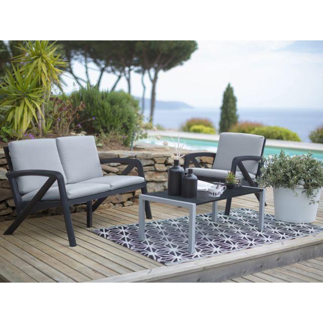 Salon de jardin Lounge Sunday Barcelone - 1 canapé + 2 fauteuils + 1 table  basse