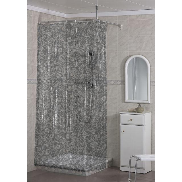 CARREFOUR - Rideau de douche PVC - 120x200 cm - Blanc mosaïque ...