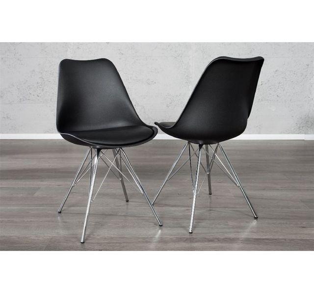CHLOE DESIGN Chaise design rétro Looki - similicuir - noir - Par 4