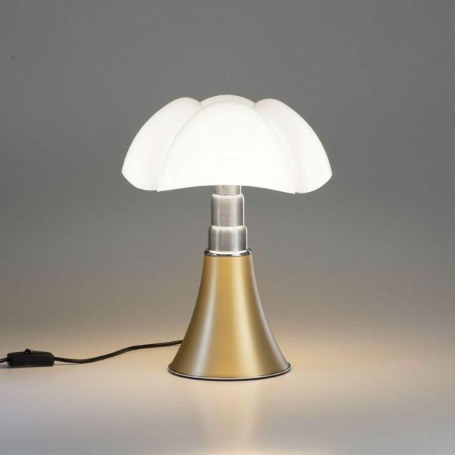 Martinelli Luce Mini Pipistrello-lampe Dimmer Touch Led H35cm Laiton - designé par Gae Aulenti