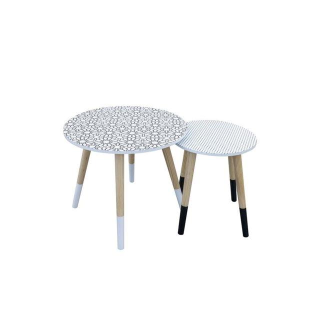 Set de 2 tables gigognes motif fleur et pois - L 43 x l 43 x H 48 cm - Noir et Blanc