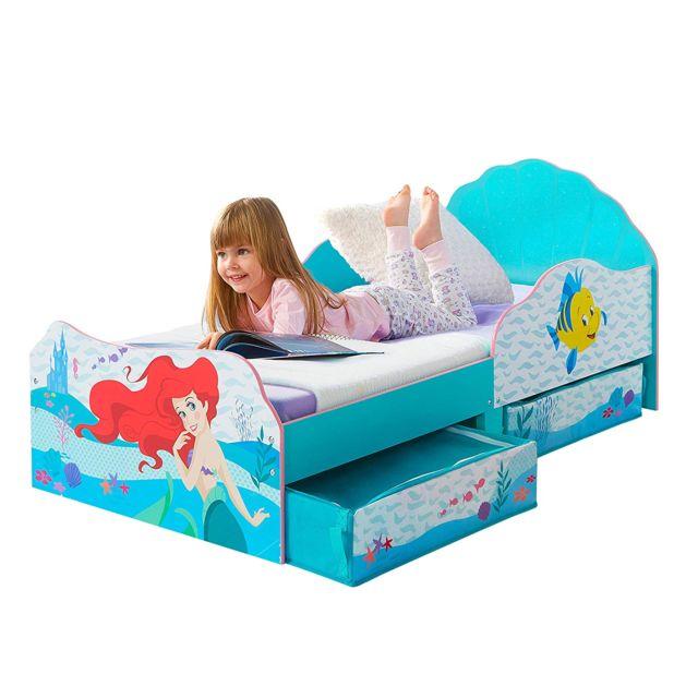 WORLDS APART Lit enfant avec tiroirs de rangement Princesse Ariel Disney