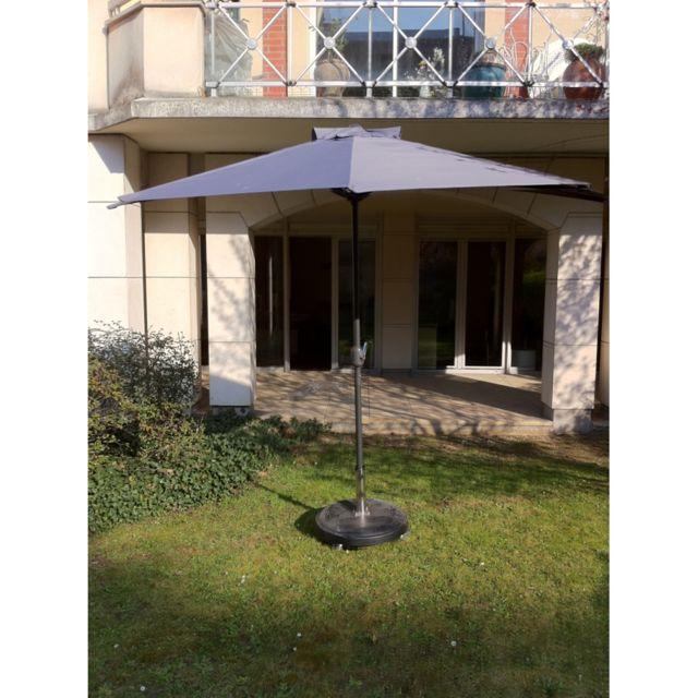 Parasol de balconl cuba avec manivelle. dia.: 2,70 m. structure en aluminium et baleines en acier. toile en polyester 18