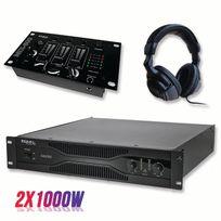 Ibiza - Pack sonorisation amplificateur 2000W Sa2000 + Table de mixage 3 voies 5 entrées + Casque