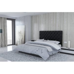 usinestreet t te de lit en microfibre noir londres largeur 180 cm 180cm x 120cm pas. Black Bedroom Furniture Sets. Home Design Ideas