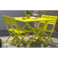 DCB GARDEN - Table pliante en aluminium jaune
