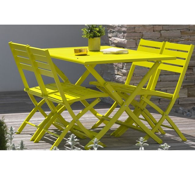 Dcb Garden Table pliante en aluminium jaune