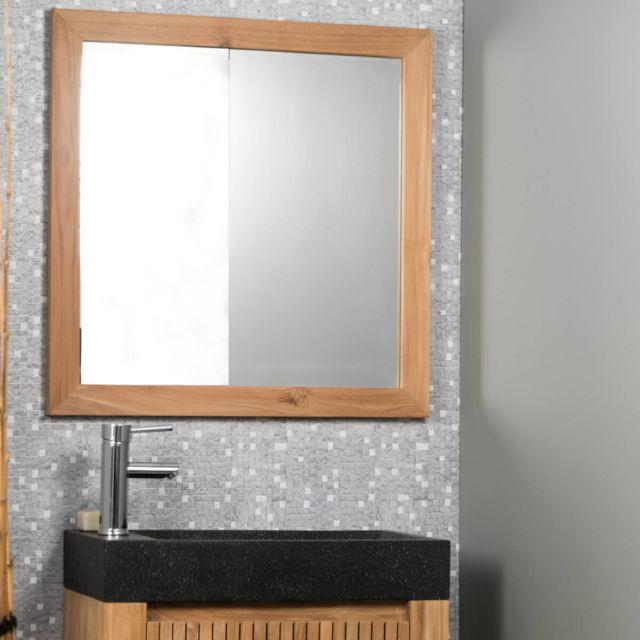 Wanda Collection Miroir carré en teck massif 70