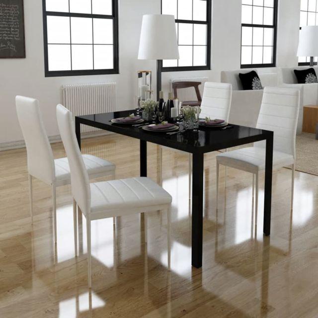 Vidaxl Ensemble Table à Manger 5 pcs Noir et Blanc Mobilier Salle à Manger