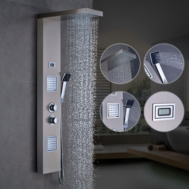 Auralum Panneau de Douche en Acier Inoxydable Noir avec Pommeau de Douche Haut Douche /à Main et Affichage LCD Temp/érature