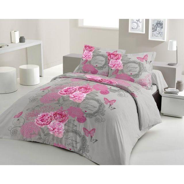 e43d6694596b72 Lovely Home - Parure de couette Loving Home 100% coton - 1 housse de couette  200x200 cm + 2 taies d oreillers 65x65 cm gris et rose - pas cher Achat    Vente ...