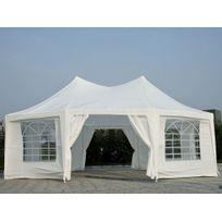 Bcelec - Tonnelle de jardin, tente de réception, pavillon de jardin Octognal, 6,8X5 m version Luxe, 45 personnes