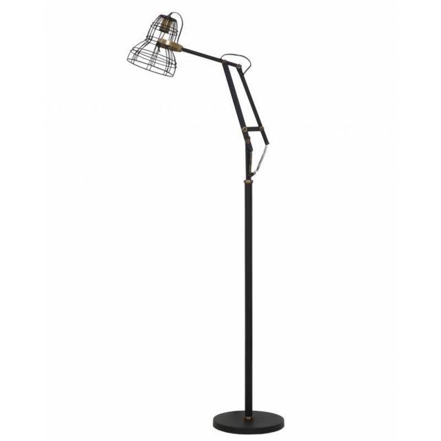 Eclairage Style Industriel Jackson Luminaire D Appoint Electrique Lampadaire Articulé En Métal Noir 30x50x170cm
