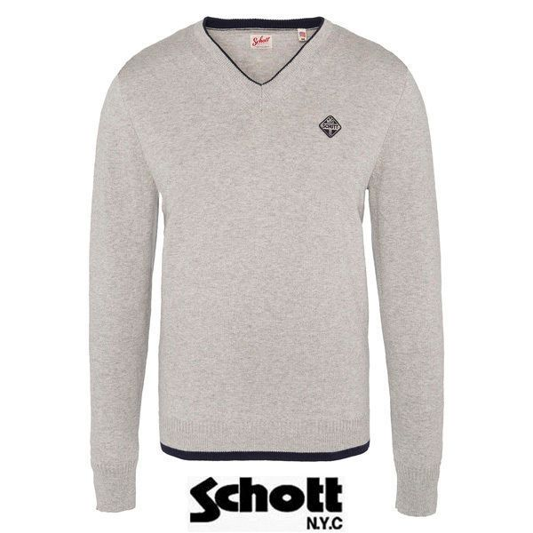 556d17aa15b2 Schott - Pull col V Heather Grey Earl2 - pas cher Achat   Vente Pull homme  - RueDuCommerce