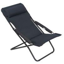 Alinéa - Transabed Xl Chilienne / Chaise longue de jardin noire en Air Comfort Lafuma