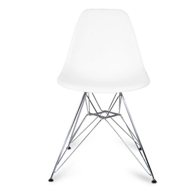 Novara Mobili - Pack 2 chaises Chrome Style Blanc avec pieds en métal chromé
