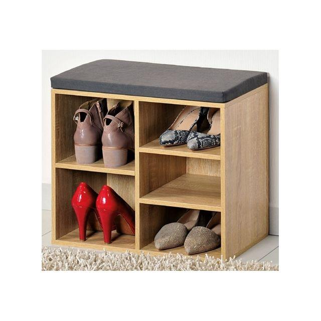 Meuble chaussures d 39 int rieur banc en bois avec coussin pour l 39 entr e pas cher achat - Meuble pour l entree ...