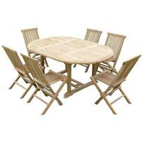 Teck'LINE - Ensemble de jardin en teck premium Sawah 6 chaises Jenae