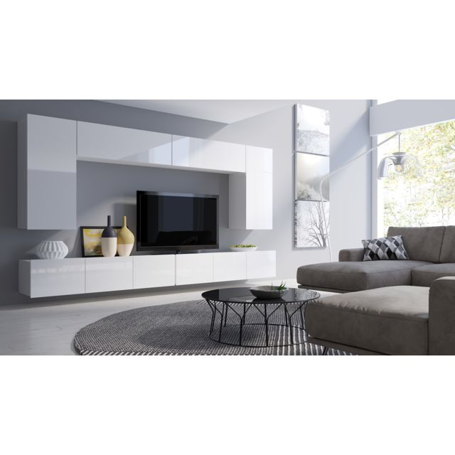 Furnix Meuble tv moderne / Banc Tv Osire 150 cm blanc