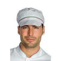 Isacco - Casquette blanche de cuisine charly avec filet et finition italie