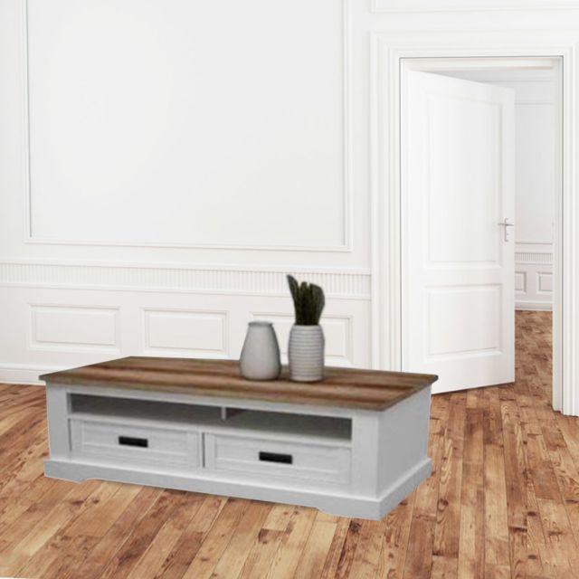 Nouvomeuble Table basse blanc et couleur bois clair contemporaine Ethan