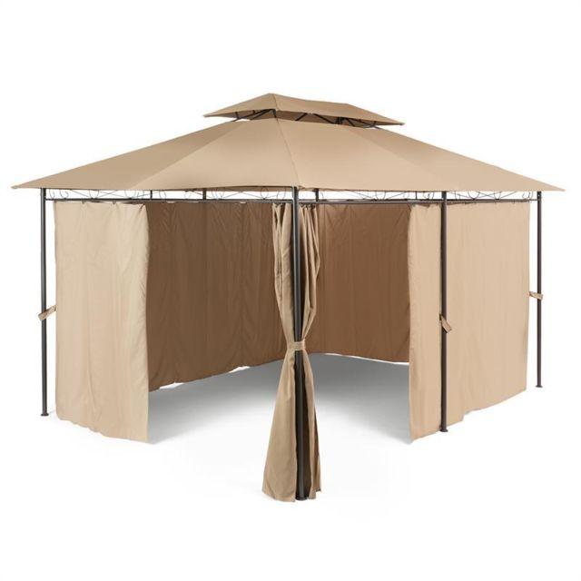 BLUMFELDT Grandezza Tente pavillon de jardin 3x4m acier polyester - marron