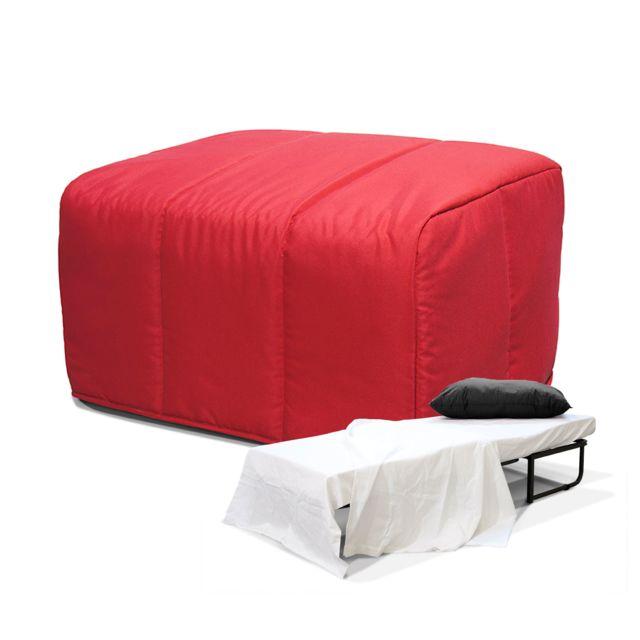 g n rique lit pliant convertible pouf rouge pas cher achat vente lits d 39 appoint. Black Bedroom Furniture Sets. Home Design Ideas