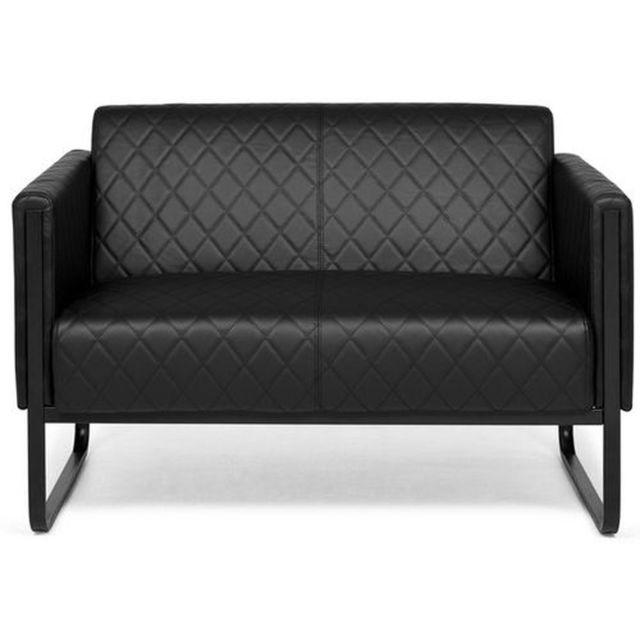 Hjh Office Canapé lounge Aruba Black châssis noir simili cuir 2 places noir