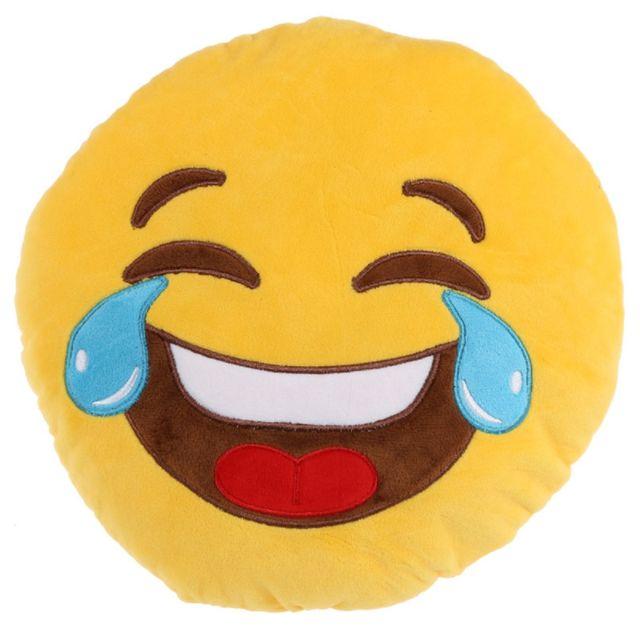 Character World Coussin Peluche Emoji Pleure de rire 50 cm Coussin en peluche Emoji amoureux En polyester.Dimension 50 cm