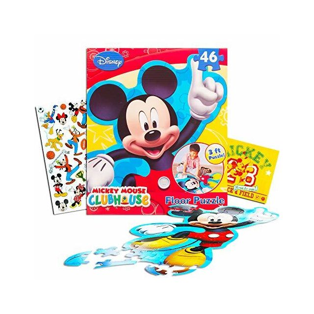 Mickey Mouse Disney Giant Floor Puzzle for Kids 3 Foot Puzzle 46 Pieces Bonus Stickers