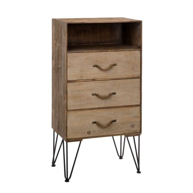 Ma Maison Mes Tendances Chiffonnier 3 tiroirs 1 niche en bois brossé et pieds en métal Golo - L 60 x l 38 x H 121