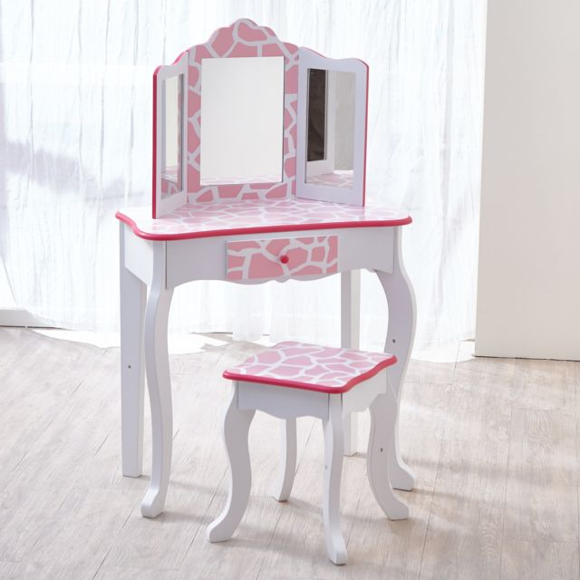 d849e0d386a85 TEAMSON KIDS - Coiffeuse enfant Teamson bois table maquillage miroir  tabouret fille TD-11670D