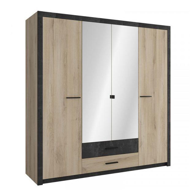 Dansmamaison Armoire 4 portes Chêne/Noir - Khanda - L 198 x l 57 x H 203 cm
