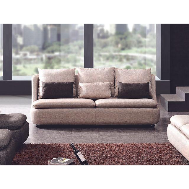 la maison du canap canap 3 places en tissu doomys beige 99cm x 206cm x 88cm achat vente. Black Bedroom Furniture Sets. Home Design Ideas