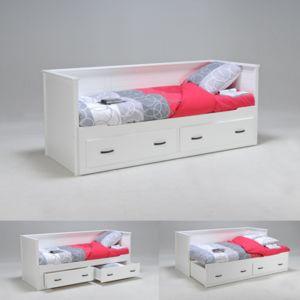 no name banquette lit extensible guest 80 x 200 2 tiroirs blanc 200cm x 80cm pas cher. Black Bedroom Furniture Sets. Home Design Ideas
